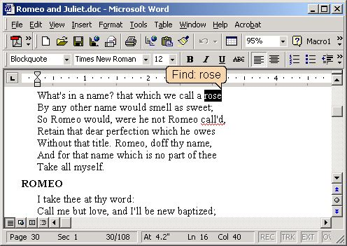 Find As You Type in Microsoft Word